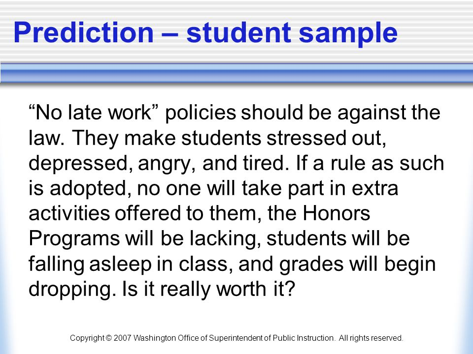 Prediction – student sample