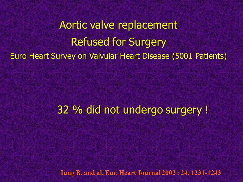 Aortic valve replacement Refused for Surgery