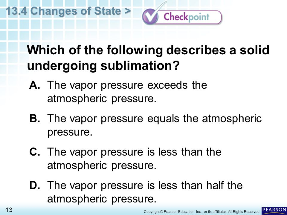Which of the following describes a solid undergoing sublimation