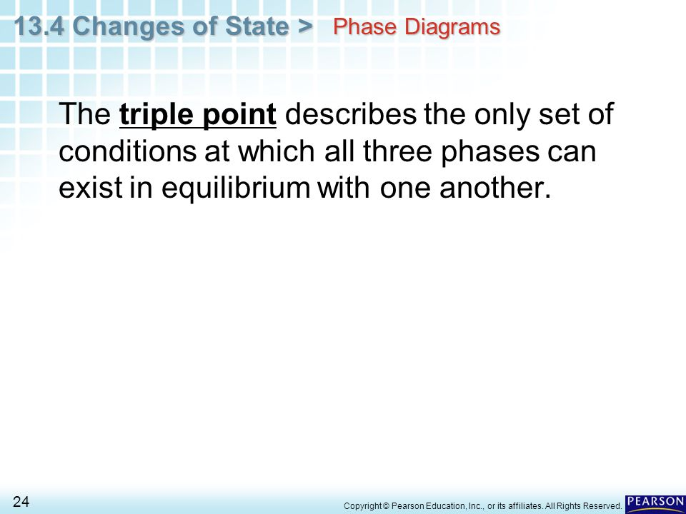 Phase Diagrams The triple point describes the only set of conditions at which all three phases can exist in equilibrium with one another.