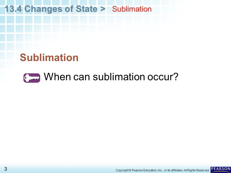 When can sublimation occur