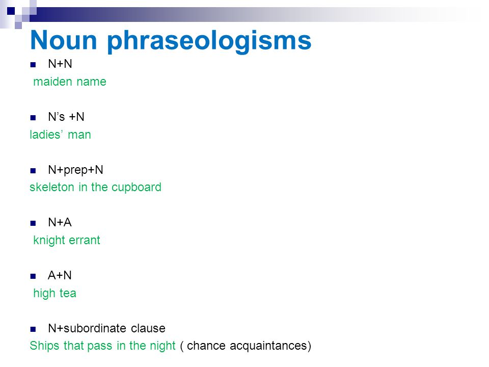Noun phraseologisms N+N maiden name N's +N ladies' man N+prep+N