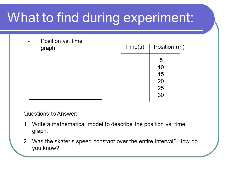 What to find during experiment: