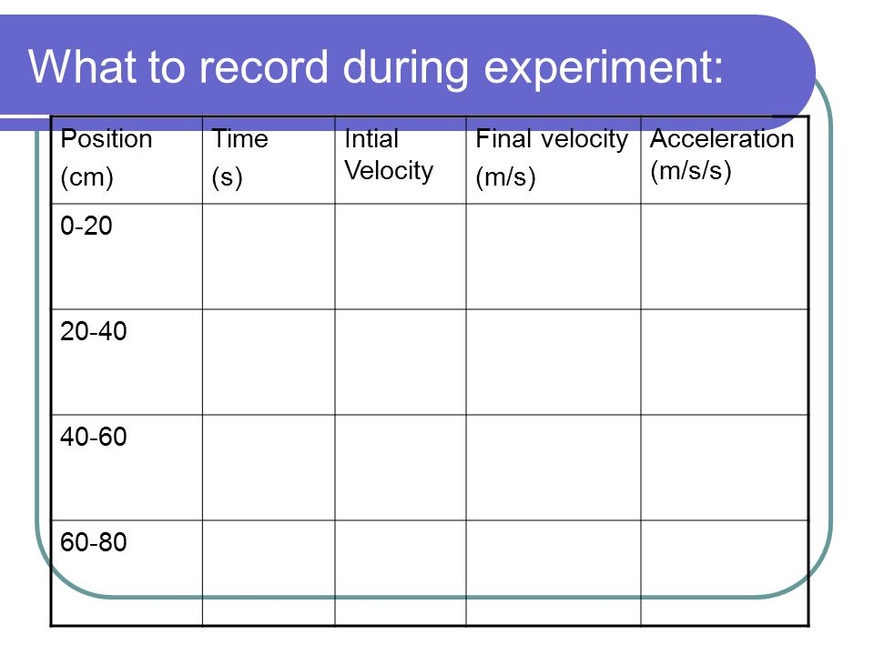 What to record during experiment: