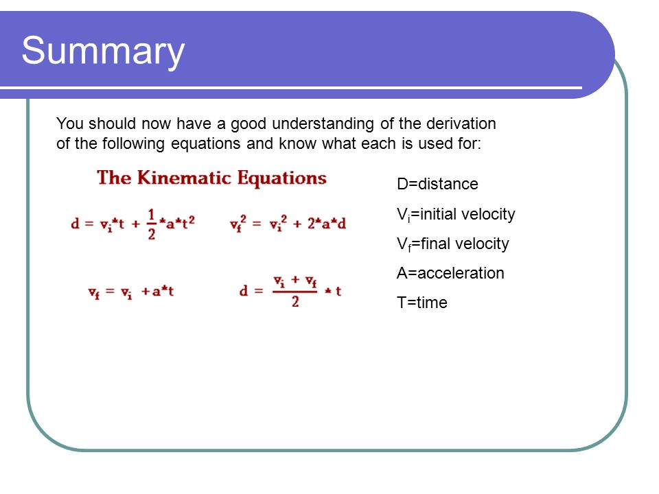 Summary You should now have a good understanding of the derivation of the following equations and know what each is used for: