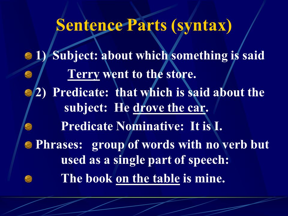 Sentence Parts (syntax)