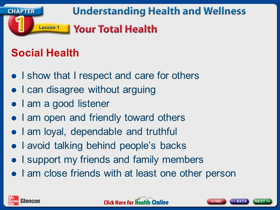 Social Health I show that I respect and care for others