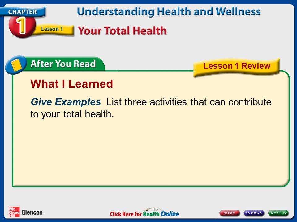 Lesson 1 Review What I Learned. Give Examples List three activities that can contribute to your total health.