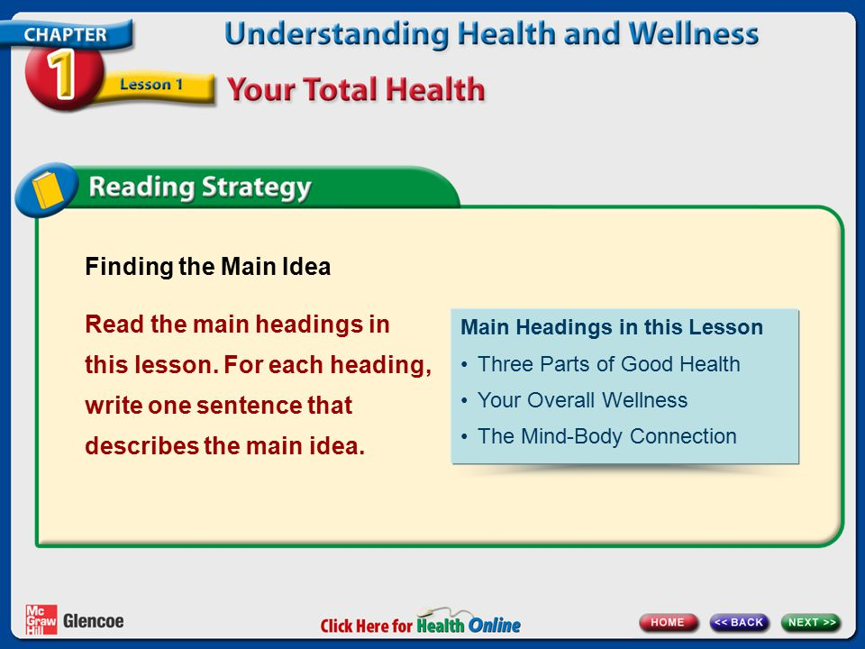 Finding the Main Idea Read the main headings in this lesson. For each heading, write one sentence that describes the main idea.