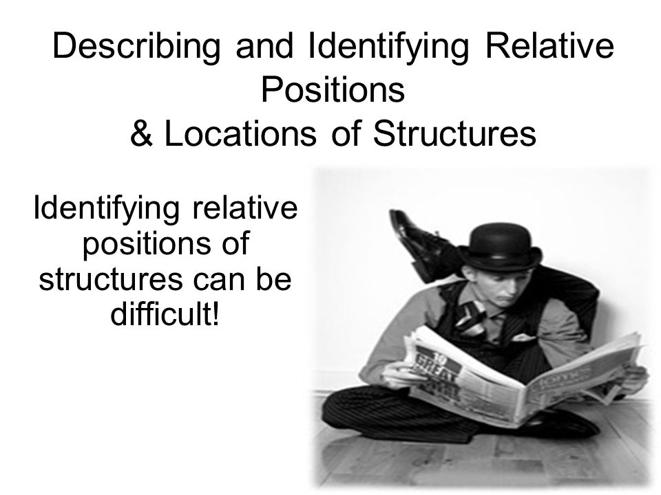 Identifying relative positions of structures can be difficult!