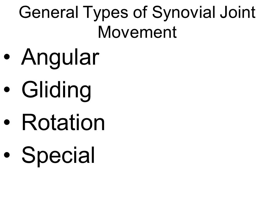 General Types of Synovial Joint Movement