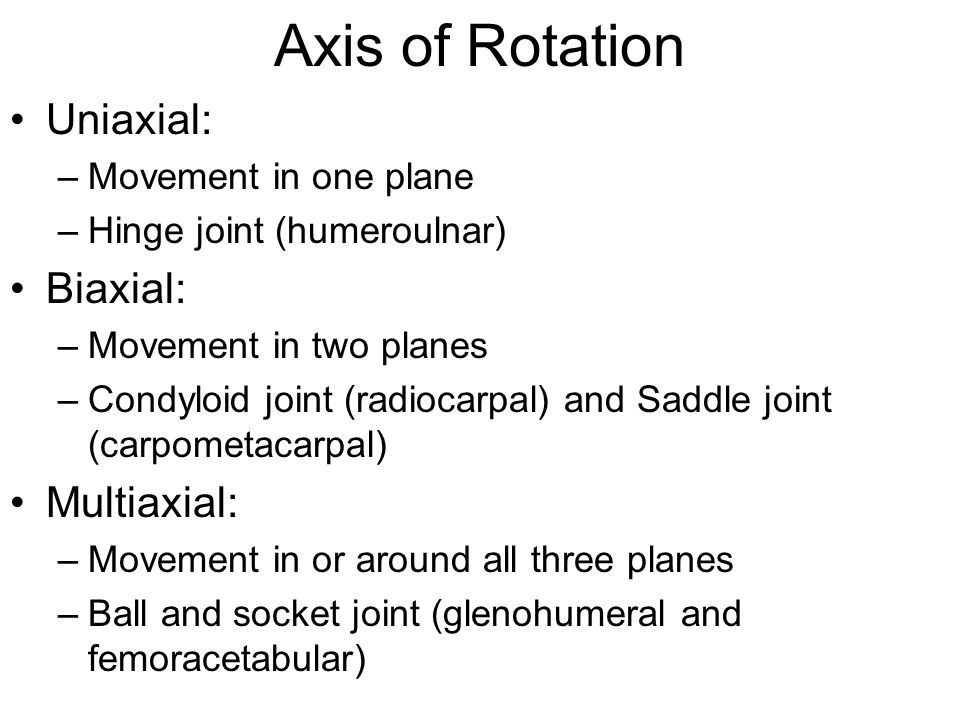 Axis of Rotation Uniaxial: Biaxial: Multiaxial: Movement in one plane