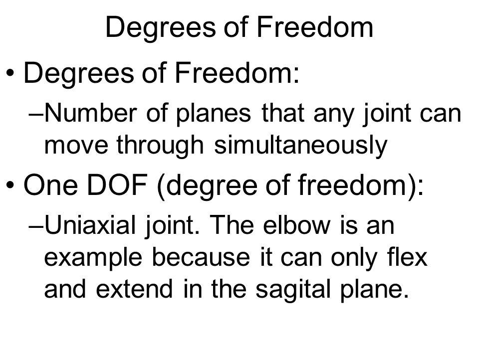 One DOF (degree of freedom):