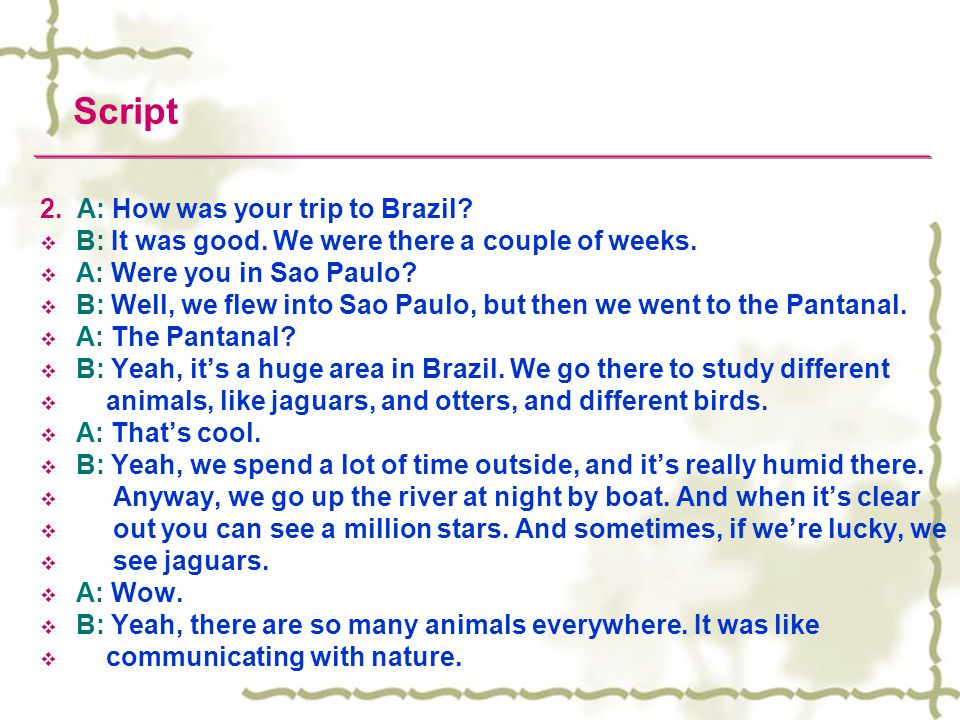 Script 2. A: How was your trip to Brazil