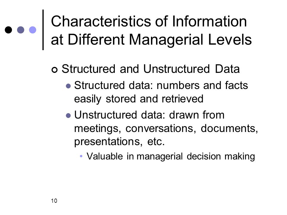 Characteristics of Information at Different Managerial Levels