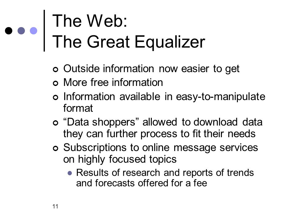 The Web: The Great Equalizer