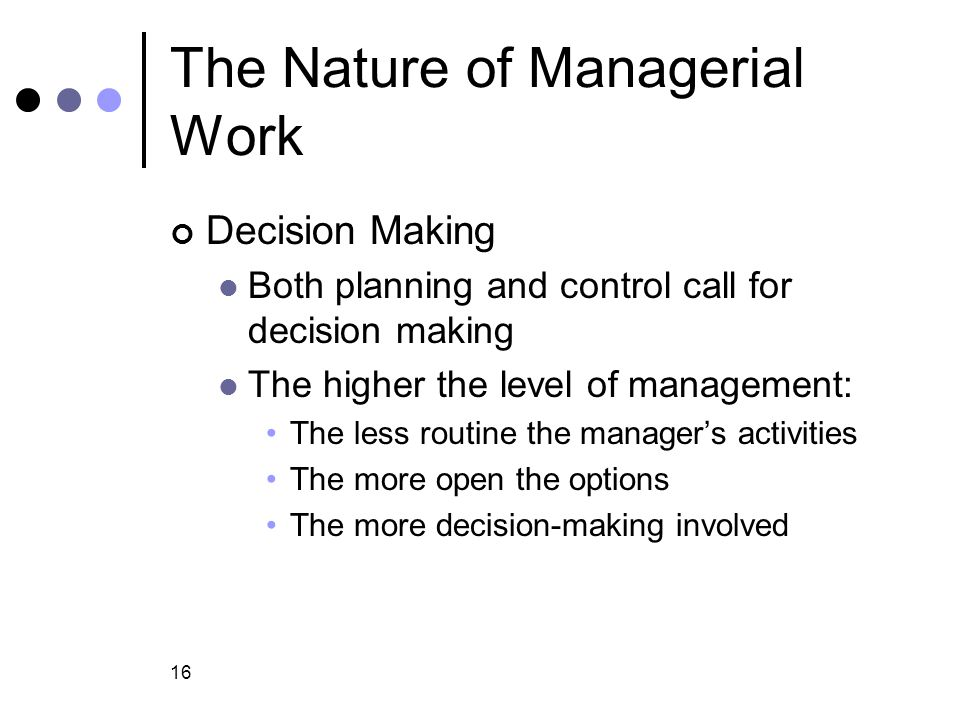 the nature of managerial work Nature of managerial work in other words nature of managerial work is everything that: a manager does to how they do it to the different types of managing styles.