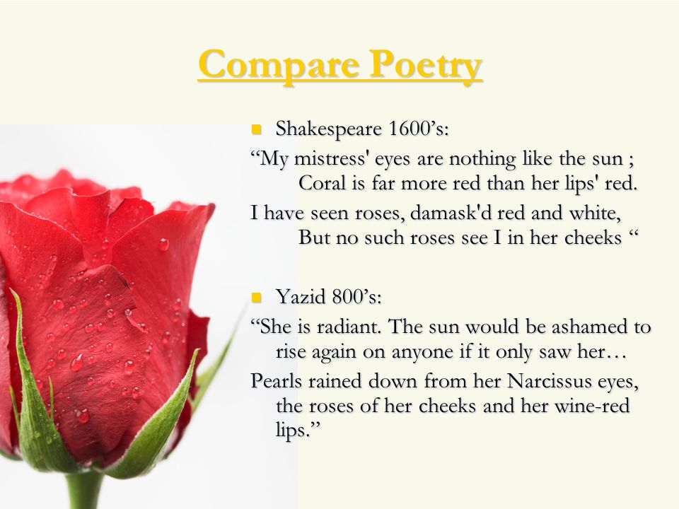 Compare Poetry Shakespeare 1600's: