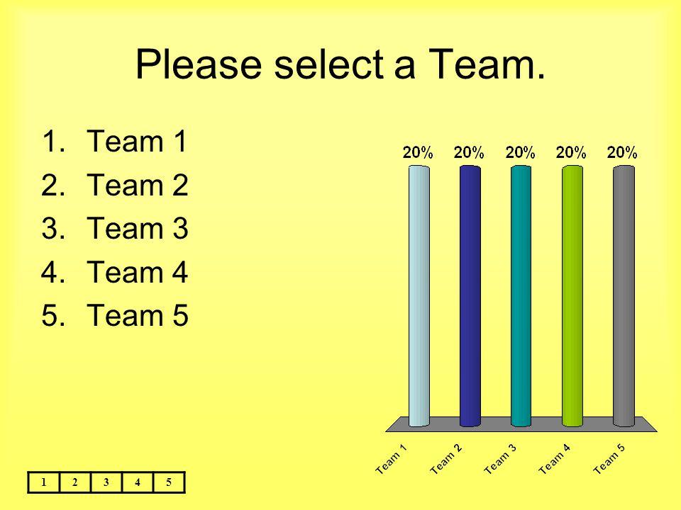 Please select a Team. Team 1 Team 2 Team 3 Team 4 Team 5 1 2 3 4 5