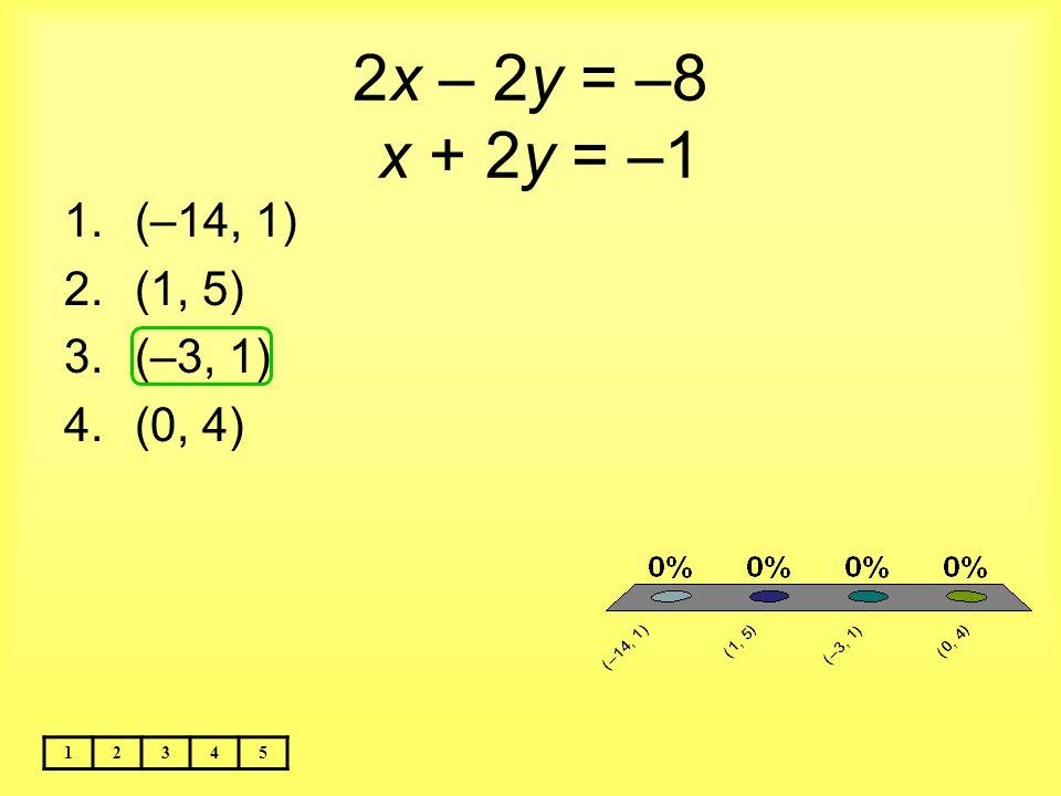 2x – 2y = –8 x + 2y = –1 (–14, 1) (1, 5) (–3, 1) (0, 4) 1 2 3 4 5