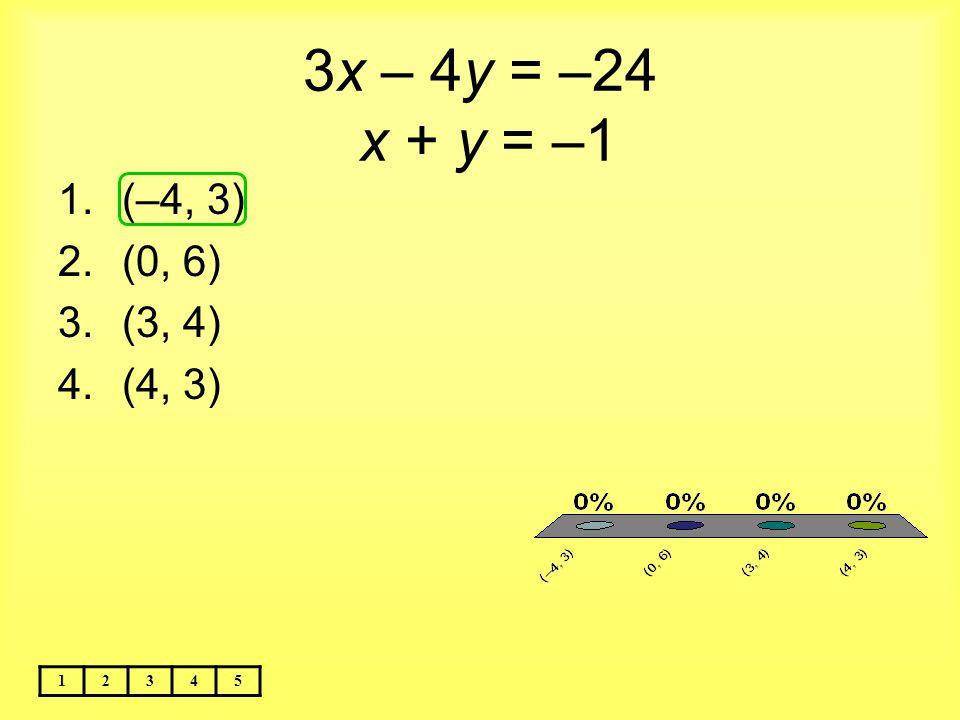 3x – 4y = –24 x + y = –1 (–4, 3) (0, 6) (3, 4) (4, 3) 1 2 3 4 5