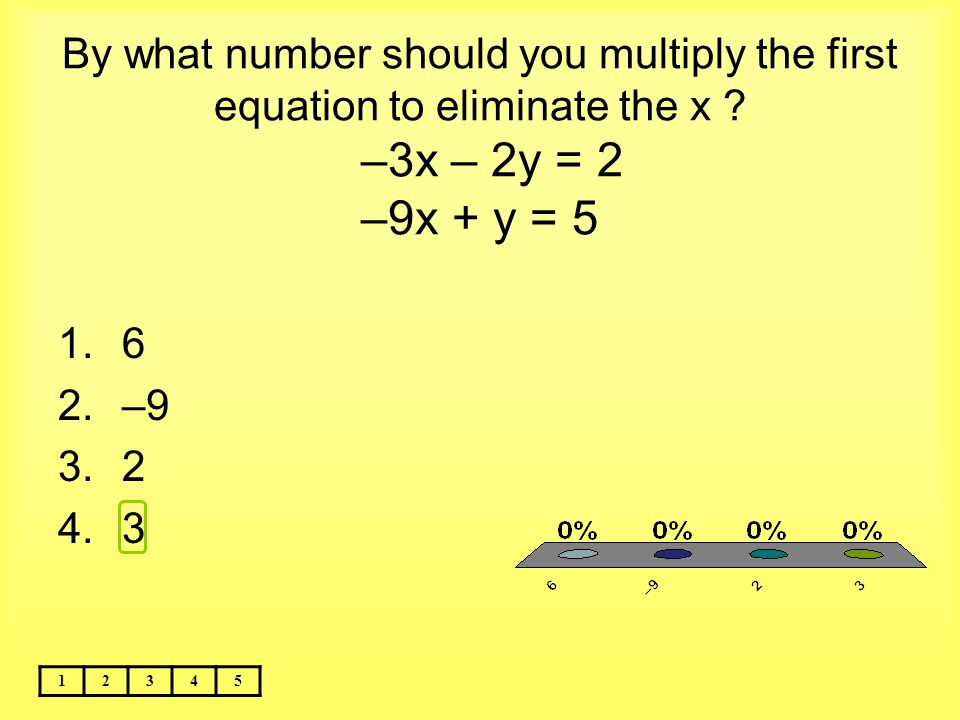 By what number should you multiply the first equation to eliminate the x –3x – 2y = 2 –9x + y = 5