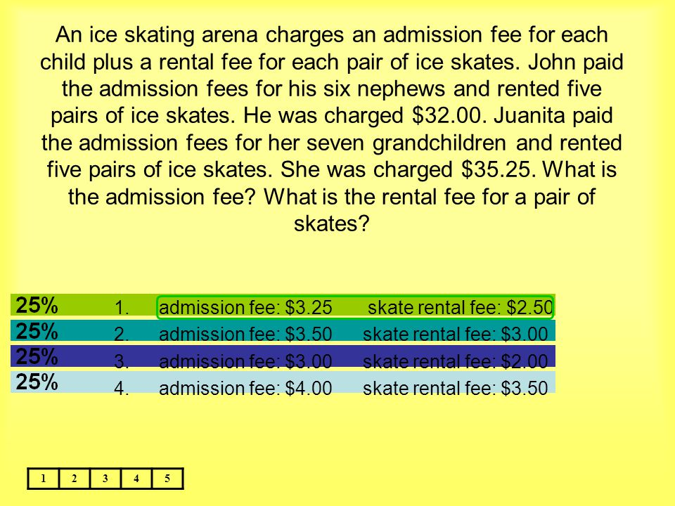 An ice skating arena charges an admission fee for each child plus a rental fee for each pair of ice skates. John paid the admission fees for his six nephews and rented five pairs of ice skates. He was charged $32.00. Juanita paid the admission fees for her seven grandchildren and rented five pairs of ice skates. She was charged $35.25. What is the admission fee What is the rental fee for a pair of skates