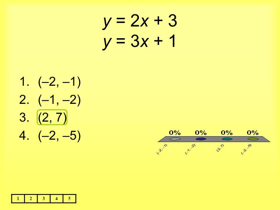 y = 2x + 3 y = 3x + 1 (–2, –1) (–1, –2) (2, 7) (–2, –5) 1 2 3 4 5
