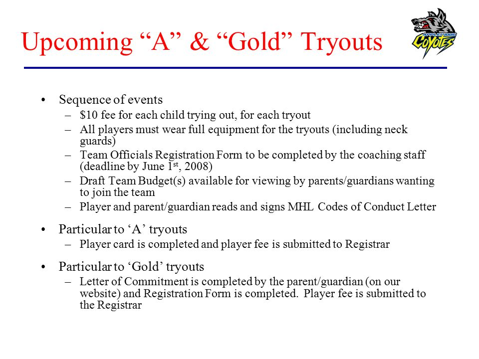 Upcoming A & Gold Tryouts