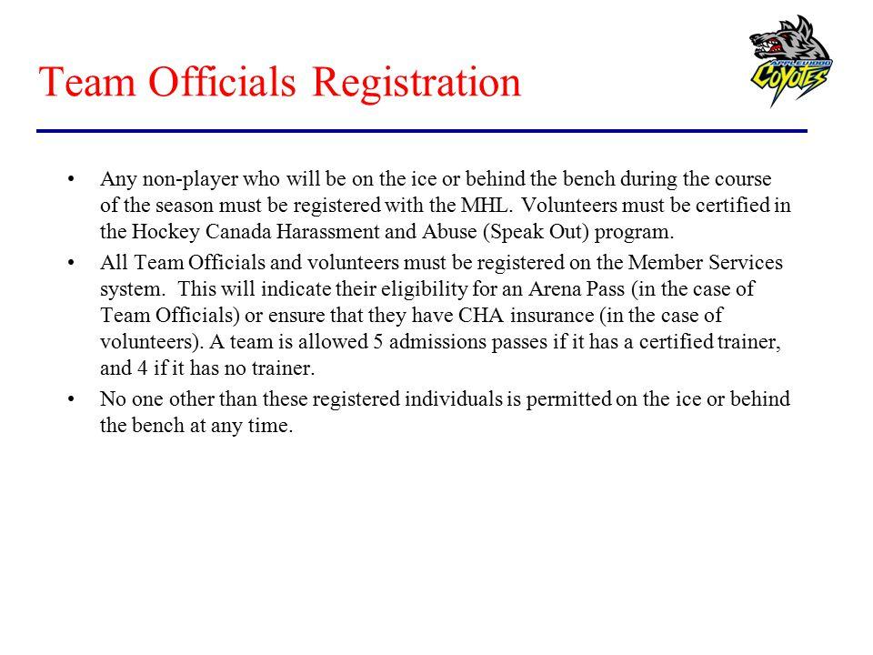 Team Officials Registration