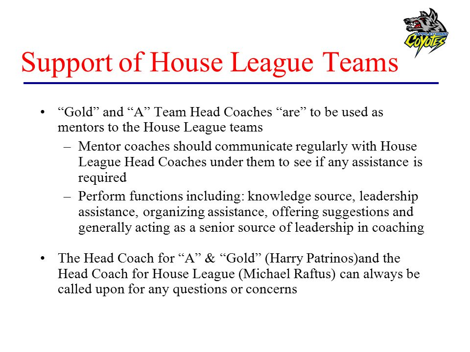 Support of House League Teams