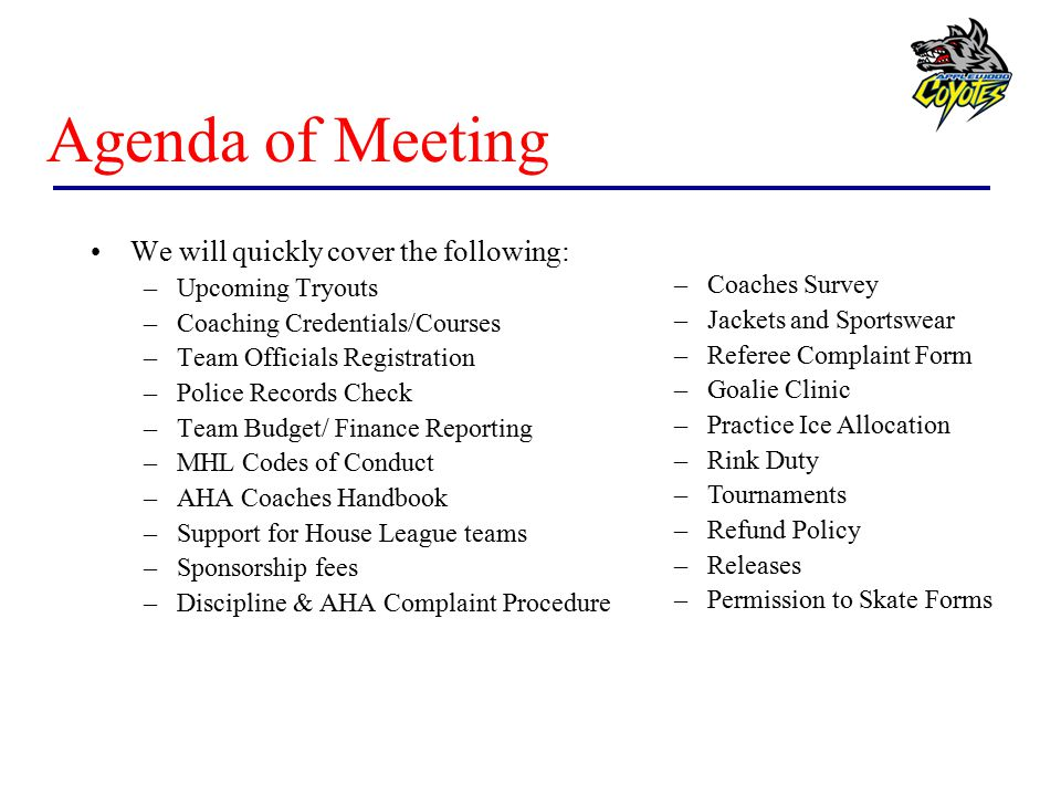 Agenda of Meeting We will quickly cover the following: