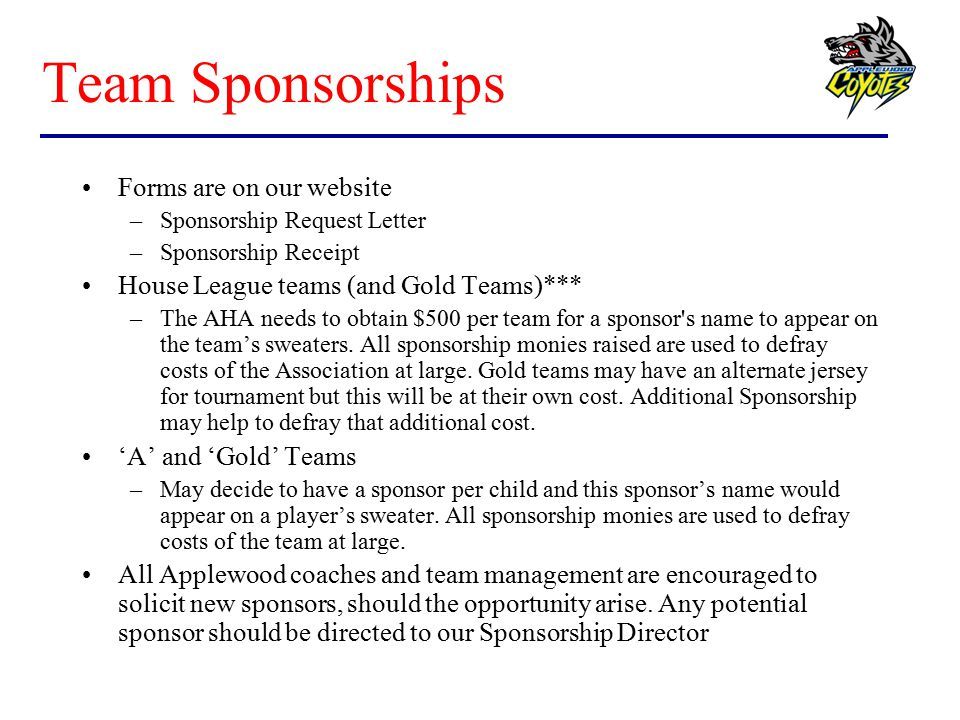 Team Sponsorships Forms are on our website