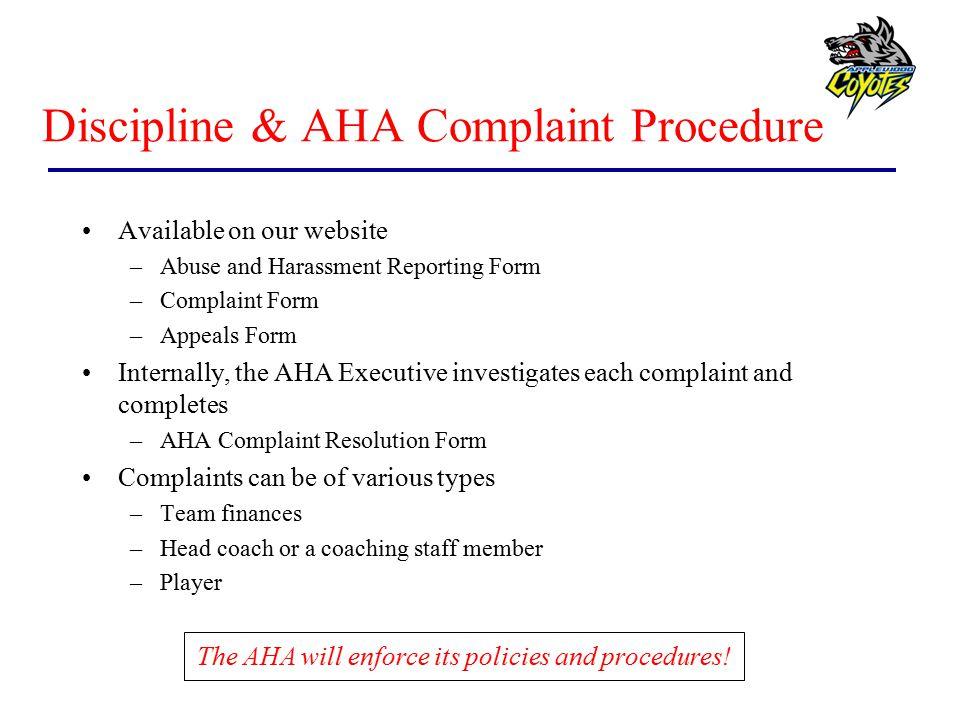 Discipline & AHA Complaint Procedure