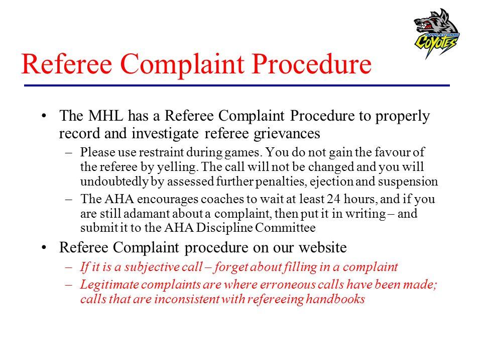Referee Complaint Procedure