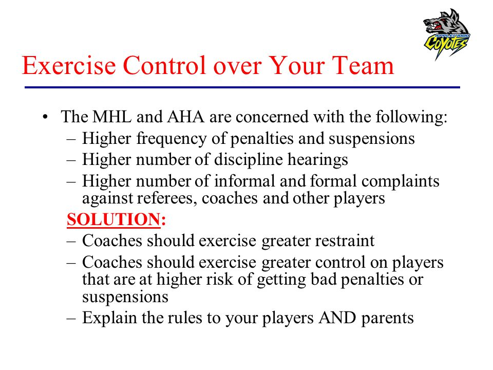 Exercise Control over Your Team