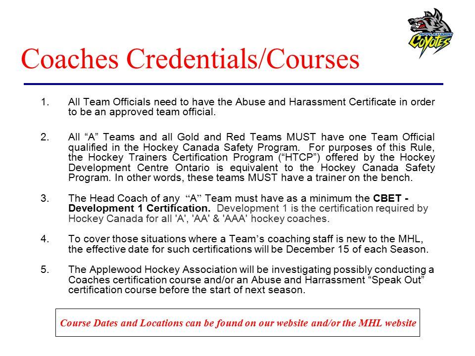 Coaches Credentials/Courses