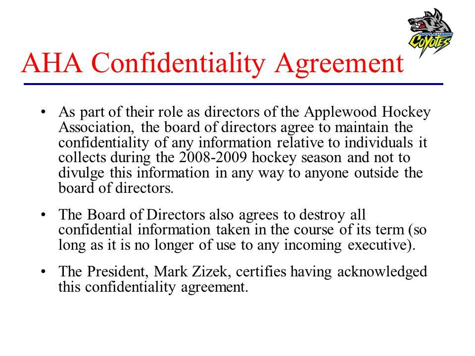 AHA Confidentiality Agreement