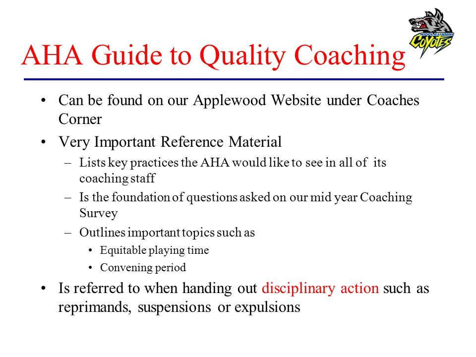 AHA Guide to Quality Coaching