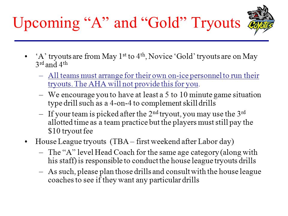 Upcoming A and Gold Tryouts
