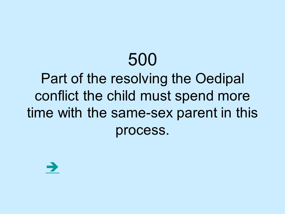 500 Part of the resolving the Oedipal conflict the child must spend more time with the same-sex parent in this process.
