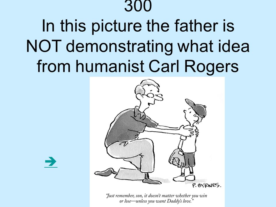 300 In this picture the father is NOT demonstrating what idea from humanist Carl Rogers 