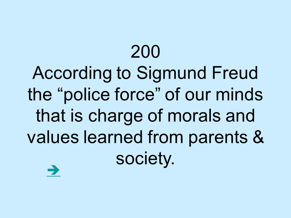 200 According to Sigmund Freud the police force of our minds that is charge of morals and values learned from parents & society.
