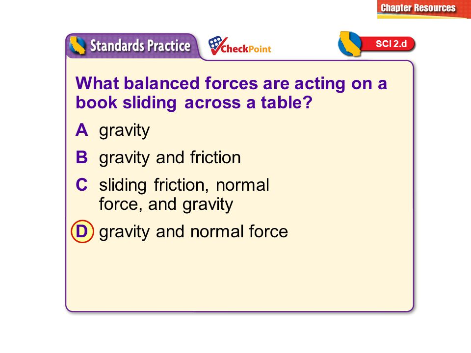 What balanced forces are acting on a book sliding across a table