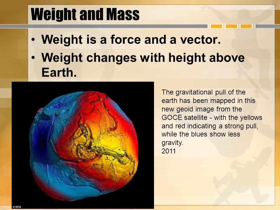 Weight and Mass Weight is a force and a vector.