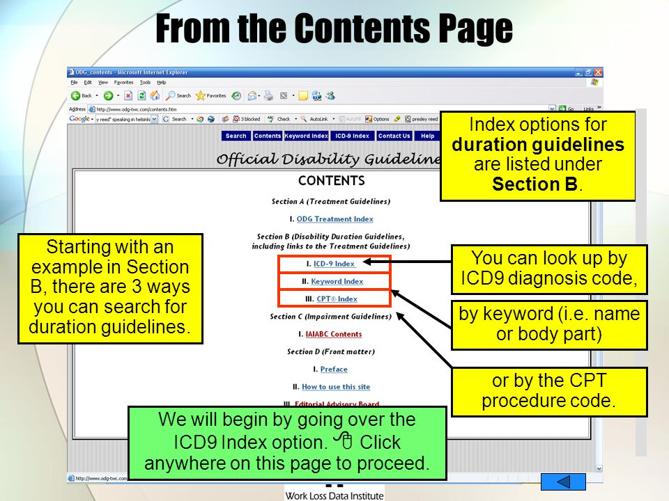 From the Contents PageIndex options for duration guidelines are listed under Section B.