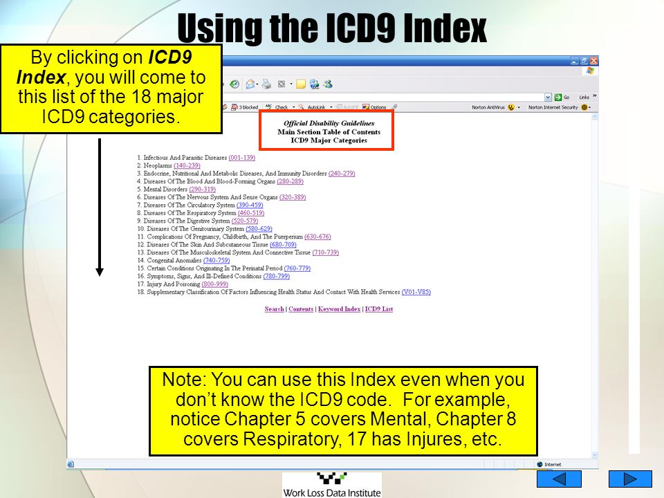Using the ICD9 IndexBy clicking on ICD9 Index, you will come to this list of the 18 major ICD9 categories.