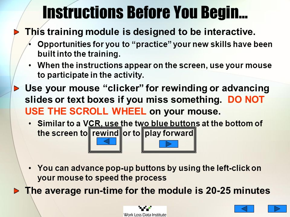 Instructions Before You Begin…