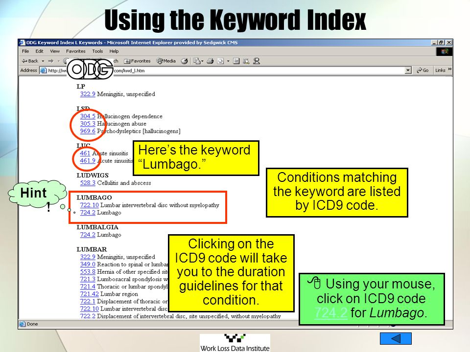 Using the Keyword Index