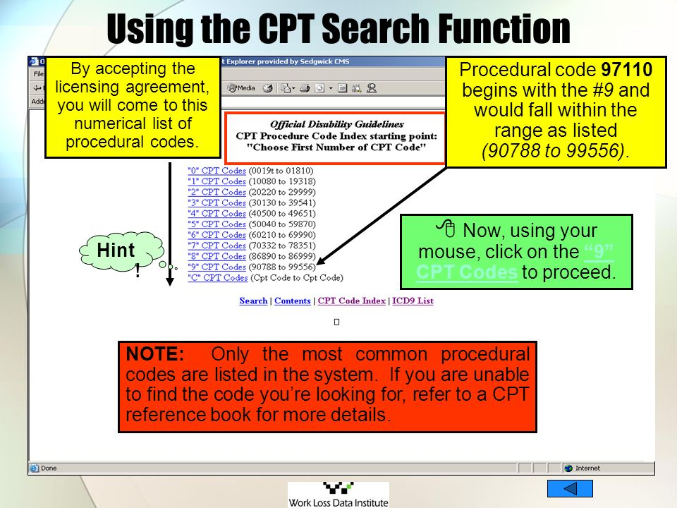 Using the CPT Search Function